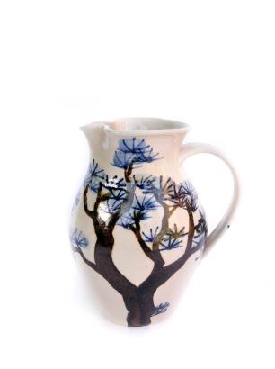 Large handmade pine tree jug