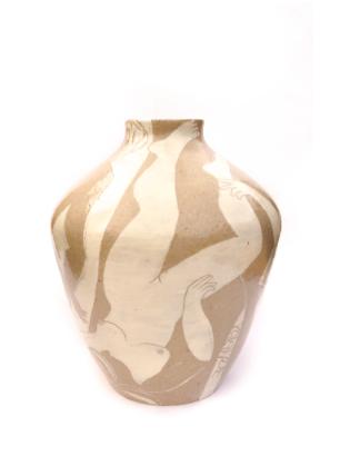 Giant vase handmade cream