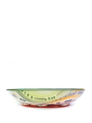 Round plate handmade Yolande Beer greenpurple Side