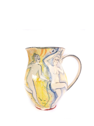 Tall jug Yellow handmade